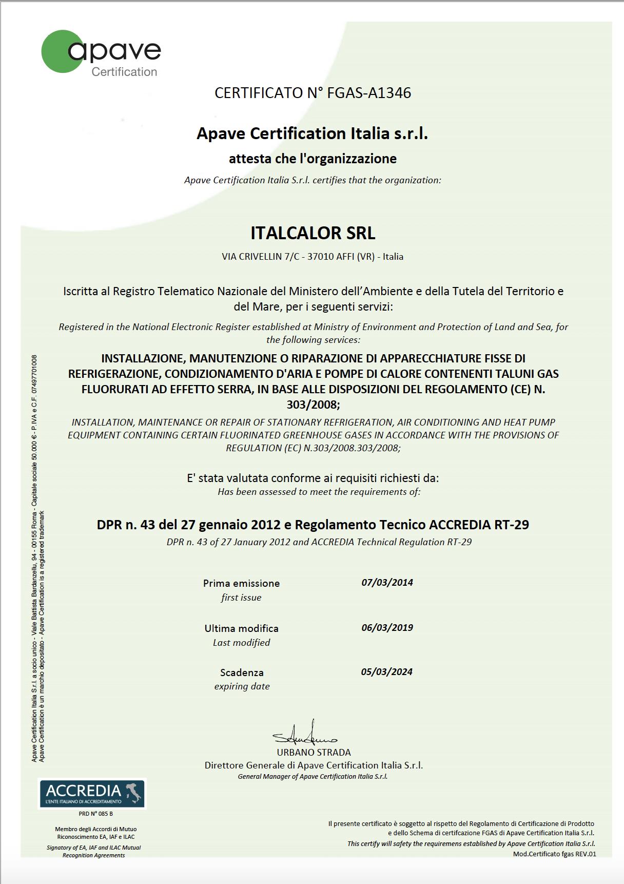 Certificato azienda